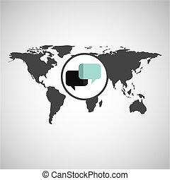 world map icon - world map with talk icon, vector...