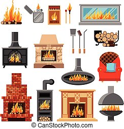 Fireplaces Icons Set - Flat icons set with various types of...
