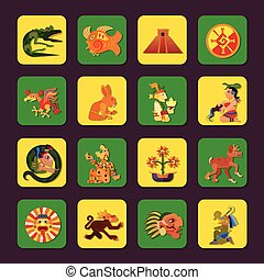 Maya Green And Yellow Icons Set - Maya green and yellow...