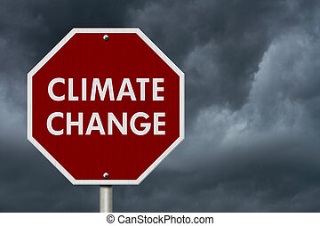 Climate change red stop highway road sign