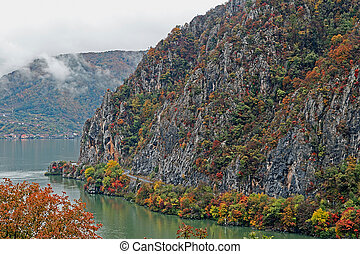 Autumn at the Danube Gorges, the border between Romania and...
