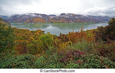 Fisheye view with autumn at the Danube Gorges, the border...