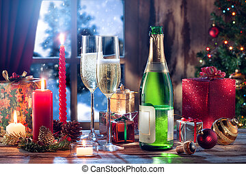 x-mas mix - close up view of champagne with candles and...