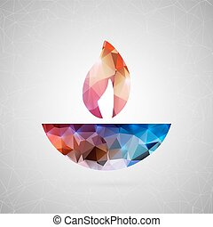 Abstract creative concept vector icon of diwali candle. For...