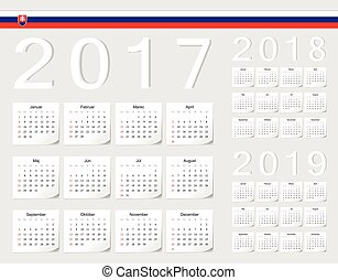 Set of Slovak 2017, 2018, 2019 vector calendars with shadow...