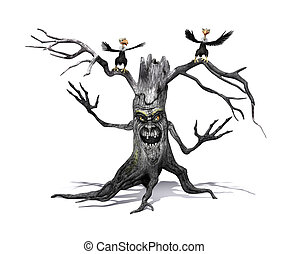 Creepy Tree with Angry Vultures - A creepy smiling tree with...