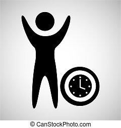 happy man with clock timw icon vecot rillustration eps 10