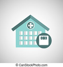 weight scale hospital building icon vector illustration eps...