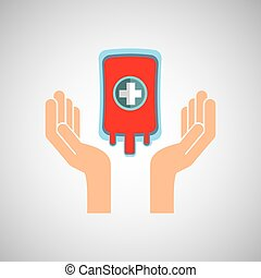 hands with bag blood donation medicine icon vector...