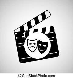 theatrical mask clapper movie graphic vector illustration...