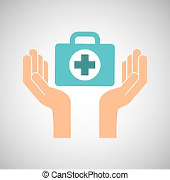 hands with kit first aid emergency icon vector illustration...