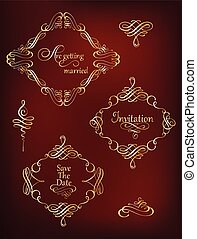 Collection of golden vintage frames and flourishes.