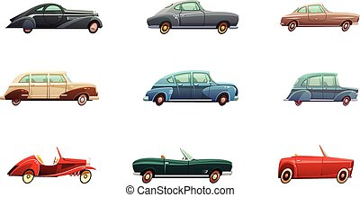Retro Car Set - Retro car set of classic sport and...