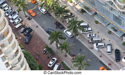 Top View of Street with Palm Trees of Chinese city