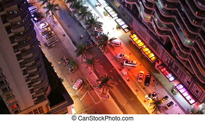 Top View of Street with Palm Trees of Chinese city, night...