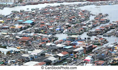 fishing village of poor people on the sea water in island...