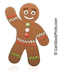 Gingerbread Man Waving - Gingerbread man waving - cute and...