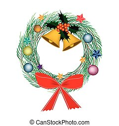 Cristmas Wreath of Pine Leaves with Christmas Decoration -...