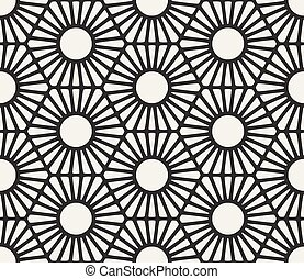 Vector Seamless Black And White Geometric Hexagon Lines...