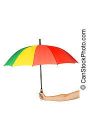 Colorful opened umbrella in hand