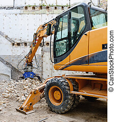 Hydraulic crusher excavator machine detail working