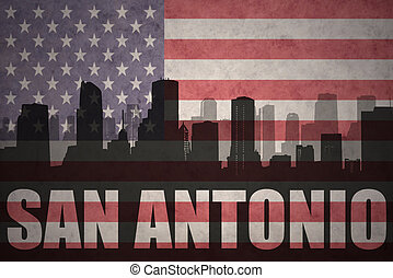 abstract silhouette of the city with text San Antonio at the...