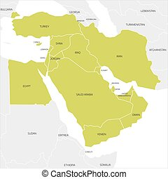 Map of Middle East region - Map of Middle East or Near East...