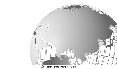 spinning globe animation - animation of a spinning grey...