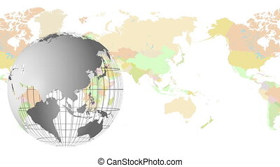 globe with map - animation of a spinning grey globe with a...