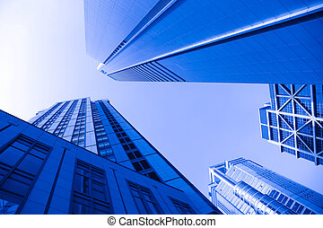 office building with the blue sky background in shanghai...