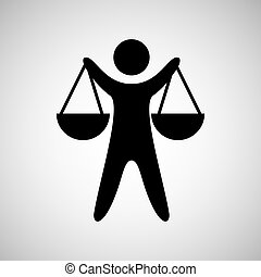 silhouette man scale justice icon graphic vector...