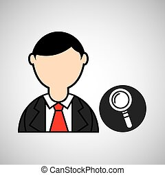 avatar man with suit and searching graphic