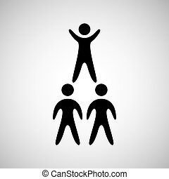 silhouete men pyramid persons design vector illustration eps...