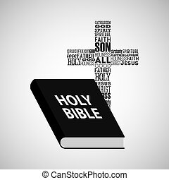 holy bible religious cross with words vector illustration...