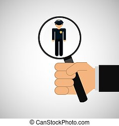 human resources searching police man graphic vector...