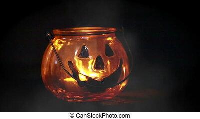Halloween Pumpkin Glass Jar