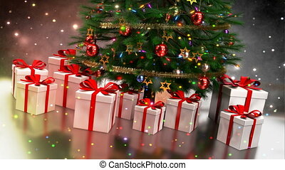 Christmas gifts with tree on colorful bokeh background....