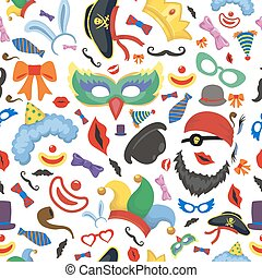 Party photo booth props seamless pattern vector background....