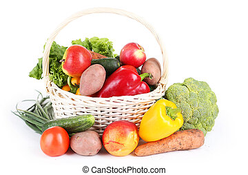 籃子, 蔬菜, 白色, 被隔离