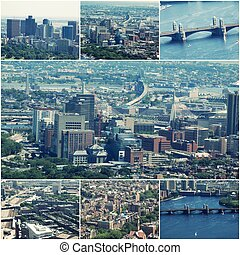 Aerial view images of Boston, MA, USA Collage of photos.