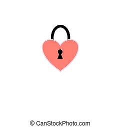 Vector sign isolated heart lock on a white background