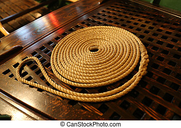 Rope and ship equipments - Rope and equipments of a wooden...