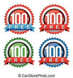 Hundred percent free badge with ribbon vector