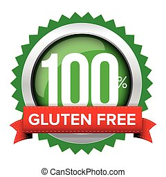 Gluten free badge vector with red ribbon
