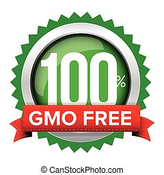GMO free badge vector with red ribbon