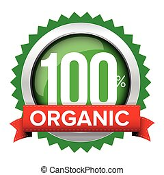 Organic badge vector with red ribbon
