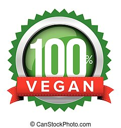 Vegan badge vector with red ribbon