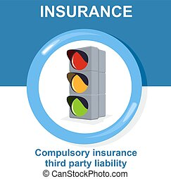 Vector flat insurance icons. Compulsory insurance third...
