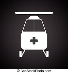 Medevac icon. Black background with white. Vector...