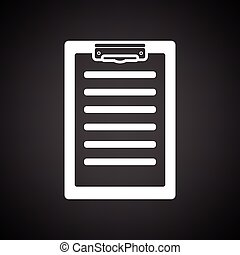 Disease history icon. Black background with white. Vector...